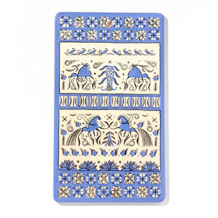 Доска разделочная «Прямоугольная», 18×0,8×31 см, синяя, мезенская роспись