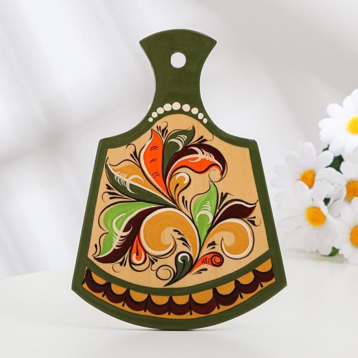 Досочка разделочная «Фигурная», 12×0,8×17 см, зелёная, ракульская роспись