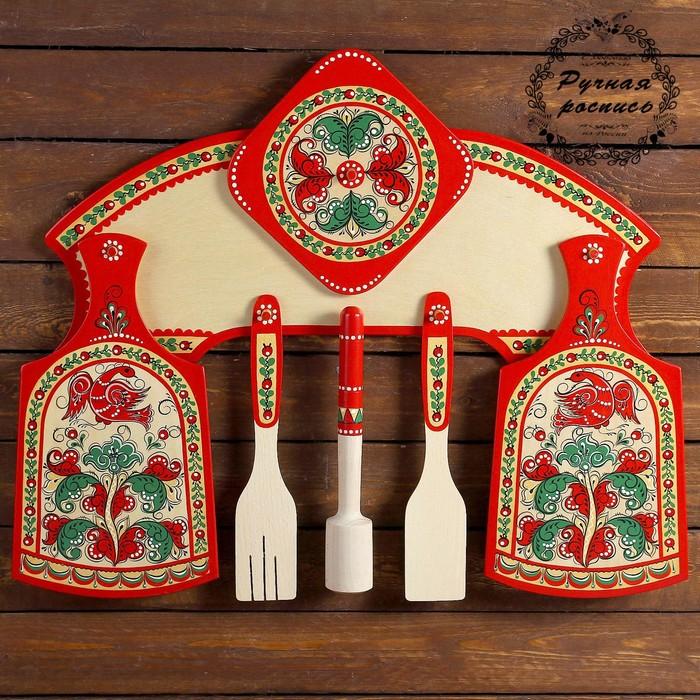 Набор кухонный с толкушкой, 7 предметов, борецкая роспись