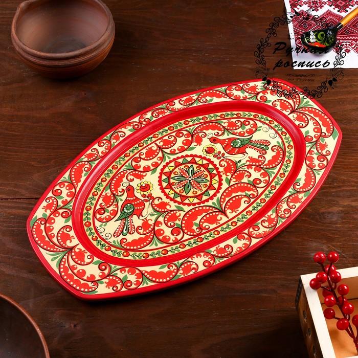 Поднос, овальный, 29×21×1,5 см, пучужская роспись