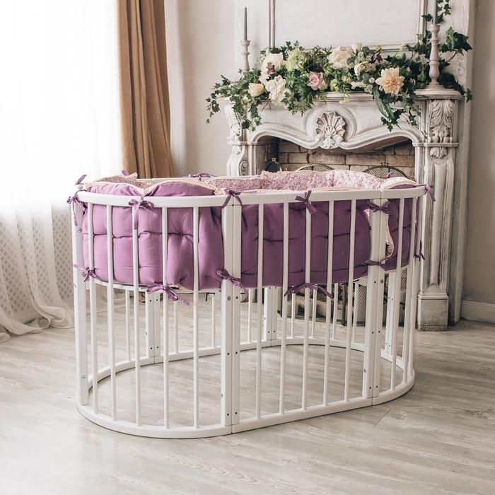 Кроватка-трансформер 6 в 1 MerryHappy круглая/овальная, лакированная, цвет белый