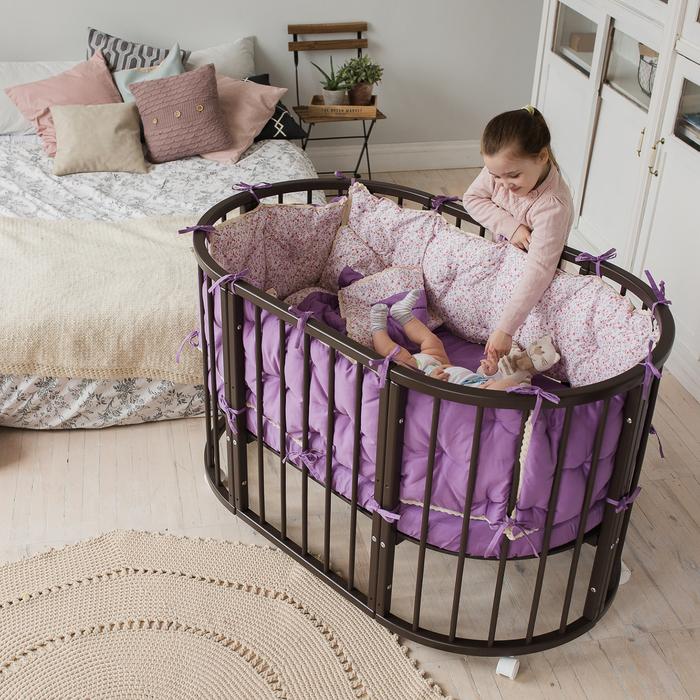 Кроватка-трансформер 6 в 1 MerryHappy круглая/овальная, лакированная, цвет венге