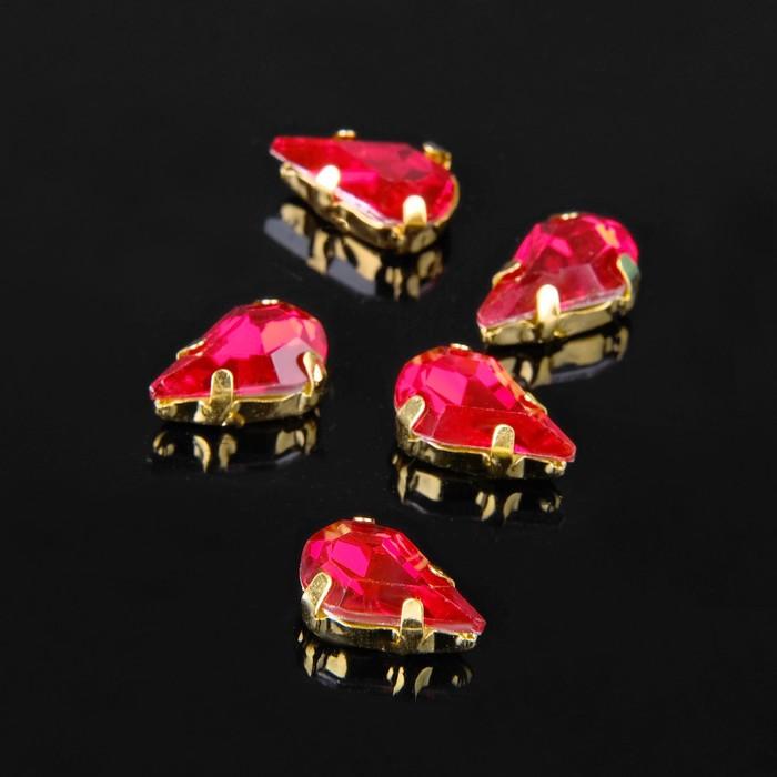 Стразы в цапах (набор 5 шт), 6*10мм, цвет красный в золоте