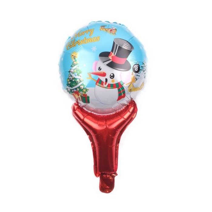 """Шар фольгированный 20"""" """"Снеговик в шляпке"""" на ручке - фото 180246679"""