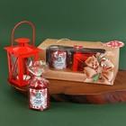"""Новогодний подарочный набор свеча и фонарик """"С новым годом"""", 19 х 10,5 х 16 см"""