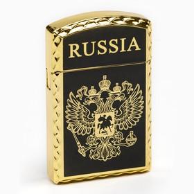 """Зажигалка газовая """"RUSSIA"""" с эмблемой двуглавого орла,  чёрная 1х3.5х6 см в Донецке"""
