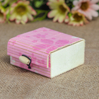 "Шкатулка соломка ""Цветы на розовом"" 3,5х7х7 см"