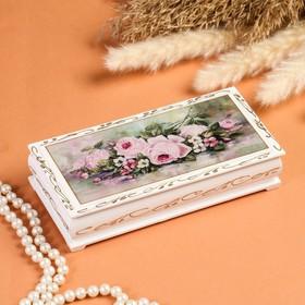 Шкатулка - купюрница «Нежность», белая, 8,5×17 см, лаковая миниатюра