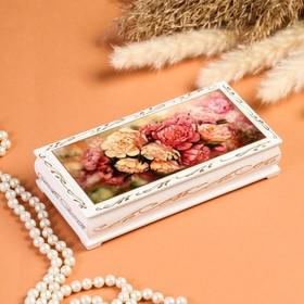 Шкатулка - купюрница «Пионы», белая, 8,5×17 см, лаковая миниатюра
