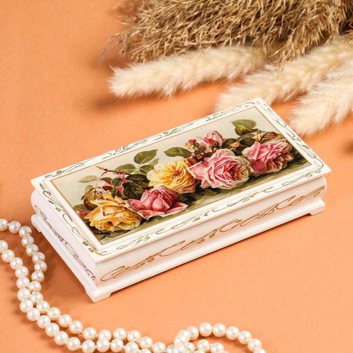 Шкатулка - купюрница «Розы», белая, 8,5×17 см, лаковая миниатюра