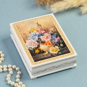 Шкатулка «Букет цветов в вазе», белая, 10×14 см, лаковая миниатюра