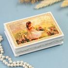 Шкатулка «Ангелочек с котятами», белая, 10×14 см, лаковая миниатюра