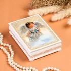 Шкатулка «Ангел с птицей», белая, 10×14 см, лаковая миниатюра