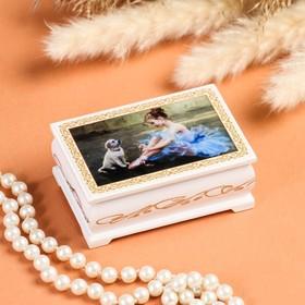 Шкатулка «Балерина», белая, 6×9 см, лаковая миниатюра