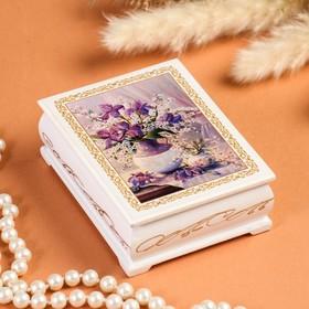 Шкатулка «Цветы в вазе», белая, 8×10,5 см, лаковая миниатюра