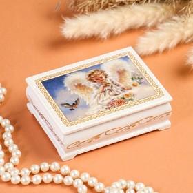 Шкатулка «Ангелок с птичками», белая, 8×10,5 см, лаковая миниатюра