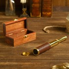 A telescope with 4x magnification, in wooden box, gift