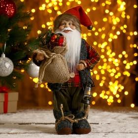 """Дед Мороз """"В клетчатой шубке, с фонариком и мешком"""" 30 см"""