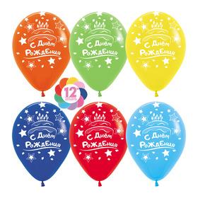 """Шар латексный 12"""" «С днём рождения», торт и свечи, пастель, 5-сторонний, набор 50 шт., МИКС"""