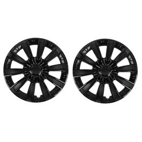 Колпаки колесные R16 Tornado, микс серебристо-черный карбон, набор 2 шт. Ош