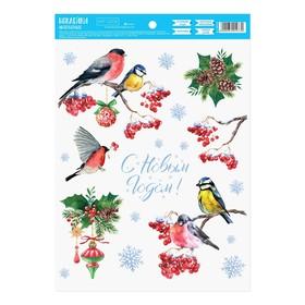 Наклейка интерьерная  «Зимние птички», 21х29.7 см в Донецке
