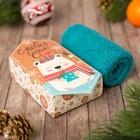 """Махровое полотенце """"С Новым годом, Мишка"""" 30х30 см, хлопок 340гр/м2"""