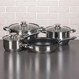 """Набор посуды """"Алия"""", 4 предмета: 2 кастрюли 3,4/5,8 л, ковш 1,9 л, сотейник с антипригарным покрытием 24х6,5 см, стеклянные крышки, капсульное дно"""