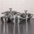 """Набор посуды """"Клара"""", 4 предмета: 2 кастрюли 3,4/5,8 л, ковш 1,9 л, сотейник с антипригарным покрытием 24 см, стеклянные крышки"""