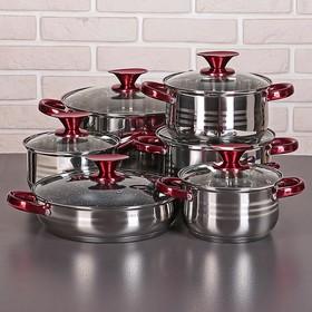 Набор посуды «Виктори 2», 6 предметов: кастрюли 1,9/2,7/3,6/6,1 л, ковш 1,9 л, сотейник с антипригарным покрытием 24 см, капсульное дно