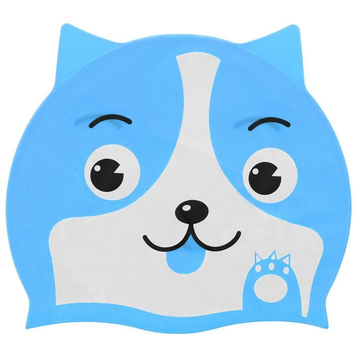 Шапочка для плавания «Собачка», детская, силикон, цвет МИКС
