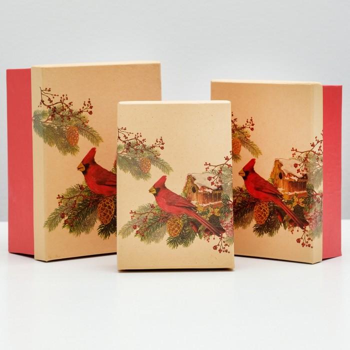 """Набор коробок 3в1 """"Красный кардинал"""", 22 х 16 х 8.5 - 18 х 12 х 5.5 см"""