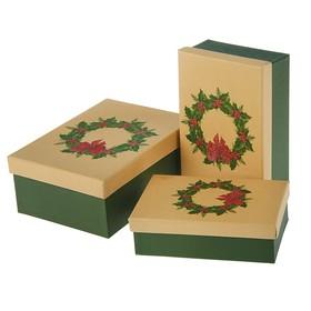 """Набор коробок 3в1 """"Рождественский венок"""", 22 х 16 х 8,5 - 18 х 12 х 5,5 см в Донецке"""