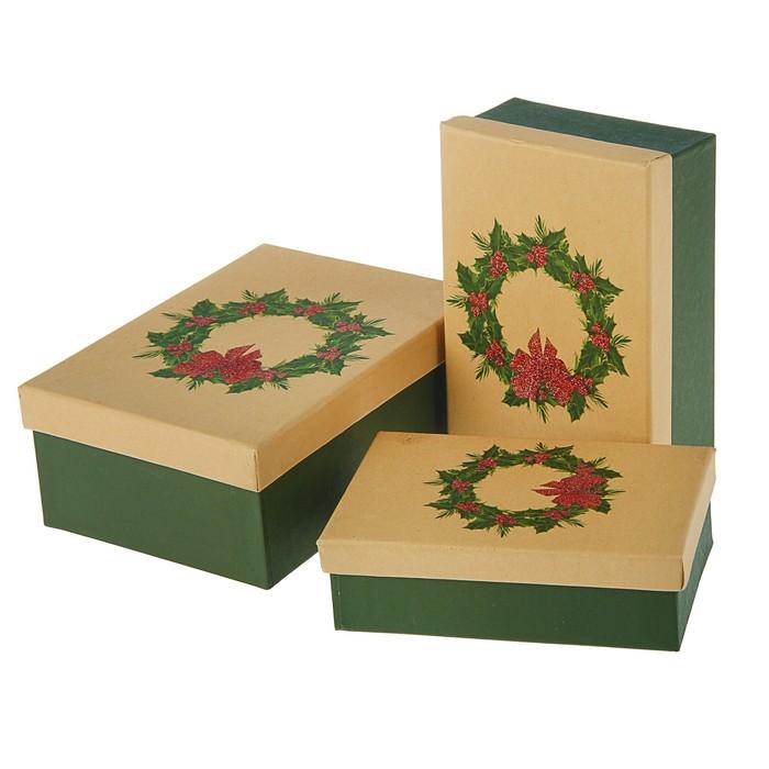 """Набор коробок 3в1 """"Рождественский венок"""", 22 х 16 х 8,5 - 18 х 12 х 5,5 см"""