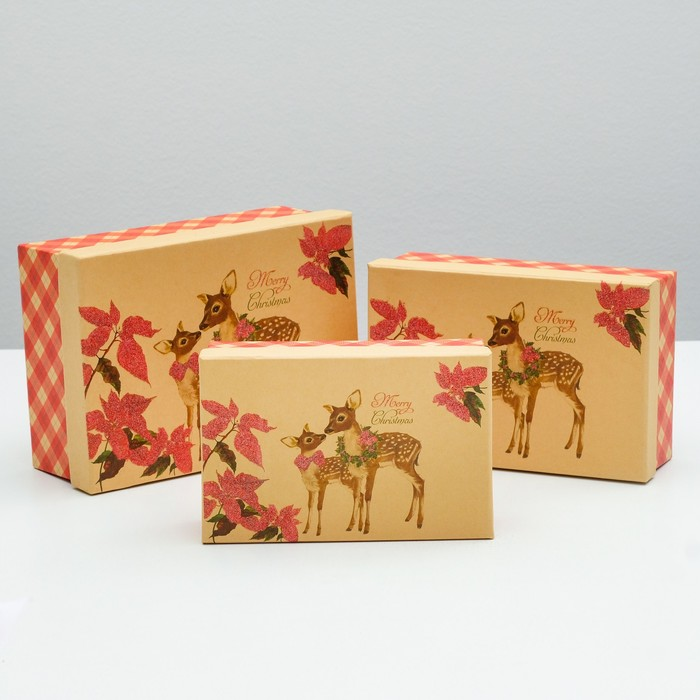 "Набор коробок 3в1, ""2 оленёнка"", 22 х 16 х 8.5 - 18 х 12 х 5.5 см"