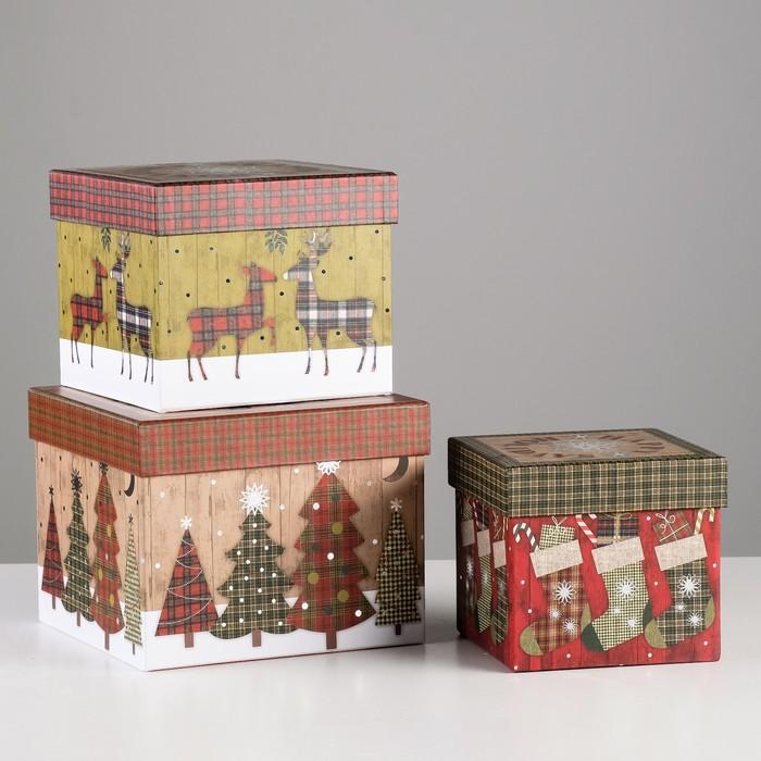 Набор коробок 3в1, 17,5 х 17,5 х 14 - 12,7 х 12,7 х 11,5 см