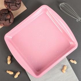 """Форма для выпечки 26,5х23,5 см """"Мраморный зефир. Квадрат"""" с ручками, керамическое покрытие"""