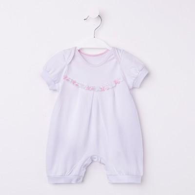 Комплект для крещения (комбинезон,чепчик), 00407-10, цвет белый/розовый, рост 62 см