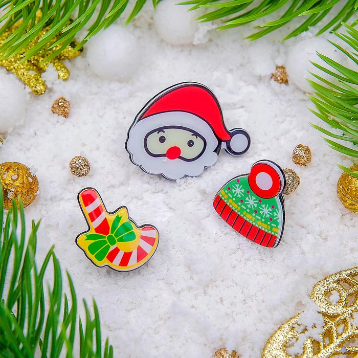 """Набор значков """"Рождественская сказка"""" зима, форма МИКС, цветные"""