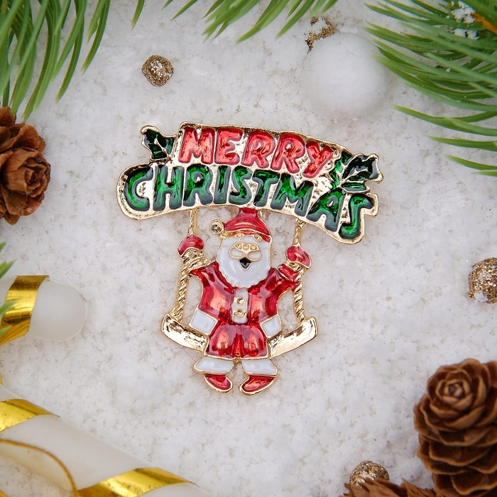 """Брошь """"Новогодняя сказка"""" Санта счастливый, цветная в золоте"""