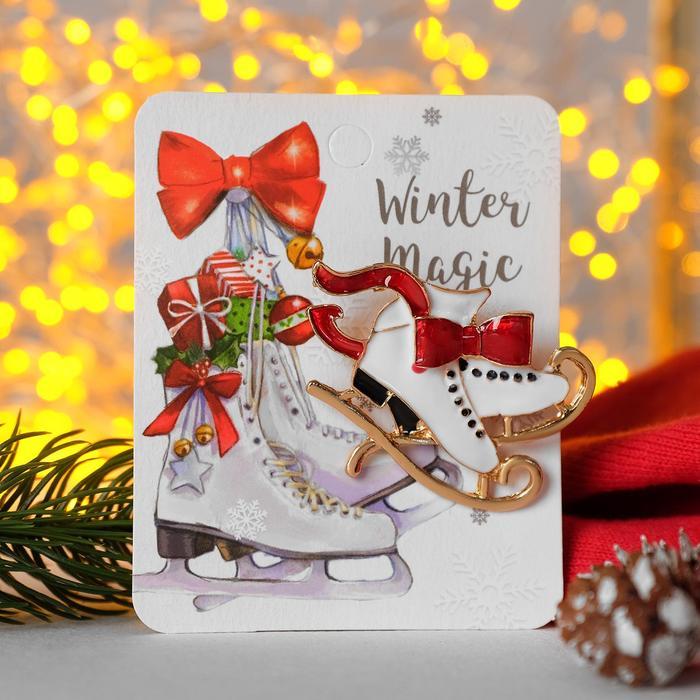 """Брошь """"Новогодняя сказка"""" коньки фигурные, цвет красно-белый в золоте"""