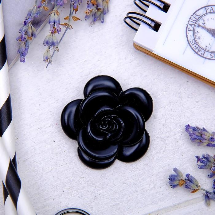 """Брошь """"Цветок"""" роза, цвет черный - фото 245324153"""