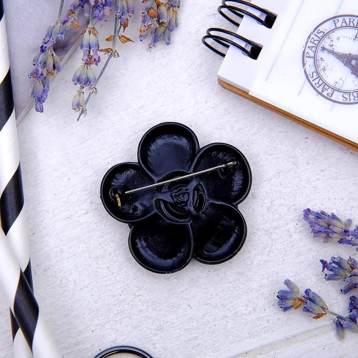"""Брошь """"Цветок"""" роза, цвет черный - фото 245324154"""