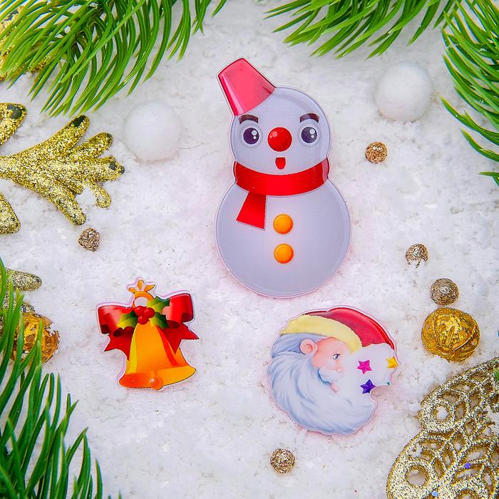 """Набор значков """"Новогодняя сказка"""" снеговик, форма МИКС, цветные"""