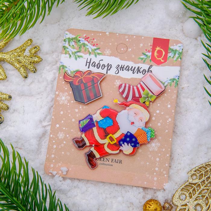 """Набор значков """"Новогодняя сказка"""" Санта Клаус, форма МИКС, цветные"""