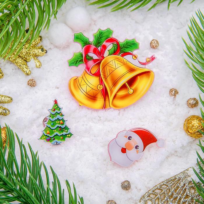 """Набор значков """"Рождественская сказка"""" колокольчики, форма МИКС, цветные"""