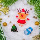 """Набор значков """"Новогодняя сказка"""" олененок радостный, форма МИКС, цветные"""
