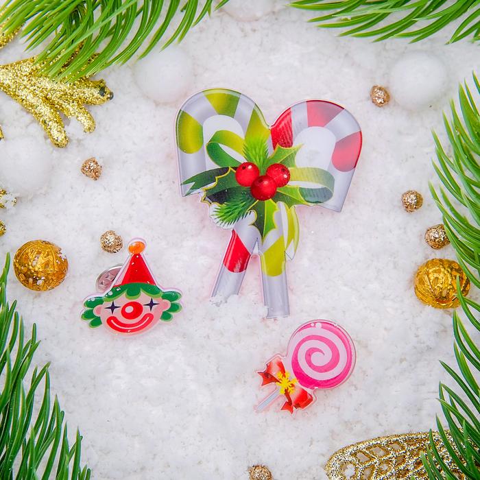 """Набор значков новогодний """"Рождественская сказка"""" леденцы сладкие, форма МИКС, цветные"""
