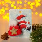 """Брошь """"Новогодняя сказка"""" шапочка теплая, цвет красный"""