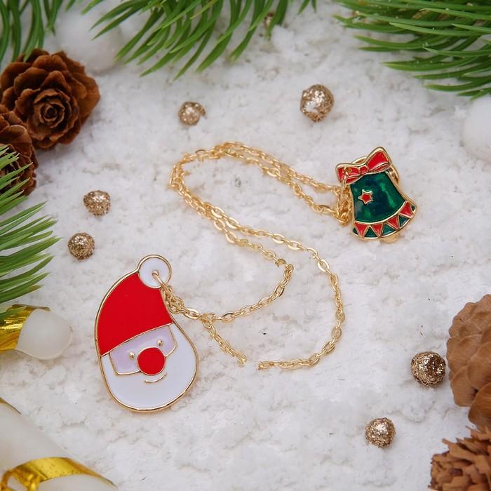 """Брошь """"Новогодняя сказка"""" на цепочке, санта, цветная в золоте"""