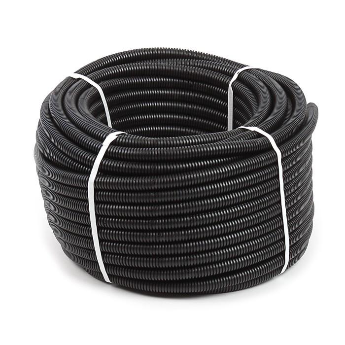Труба гофрированная ПНД T-plast, 20 мм, с зондом, 25 м, черная, 55.01.013.0005,